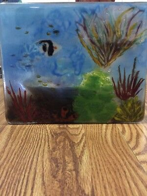 Blue Ocean Fish Fused Stained Glass Window Panel Coral Reef