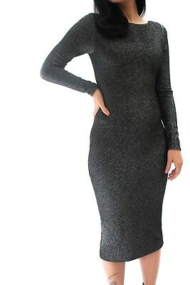 0ae3ad82b8227 Ted Baker Black Silver Glitter Midi Bodycon Party Cocktail Midi Dress 8 to  16