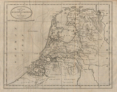 A New Map of the Seven United Provinces. BAYLY 1783 old antique plan chart