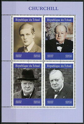 Chad 2019 CTO Winston Churchill 4v M/S Politicians Famous People Stamps