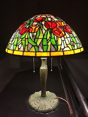 SALE Artisan Leaded Glass Lamp With Shade Hand Crafted Art Nouveau Vintage