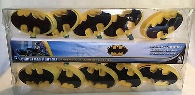 Batman Light Set 10 Bat Signal Patio Lights DC Comics Kurt Adler Christmas NEW