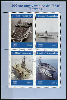 Madagascar 2019 CTO HMS Hermes Aircraft Carrier 4v M/S Military Ships Stamps