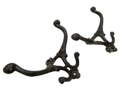 "Set of 2 Antique-Style Rustic Heavy Cast Iron 7"" x 5"" Hall Tree Coat Hooks Hat"