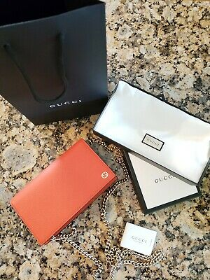 56cfaa25a07 GUCCI DOLLAR CALF Wallet on Chain NWT Sun Orange -  725.00