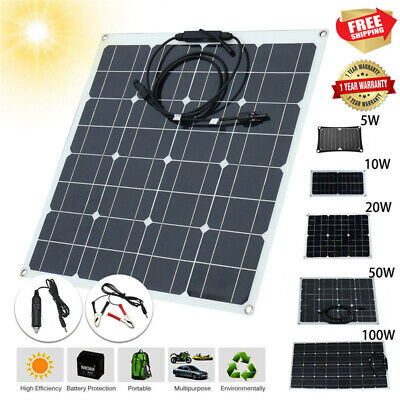 5-80W 5V 12/18V Monocrystalline Solar Panel Battery Charger RV Motorhome Boats