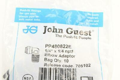 "Qty 19 Bag of 10 John Guest 1/4"" x 1/4"" Polypropylene 90Deg Male Fix Elbow"