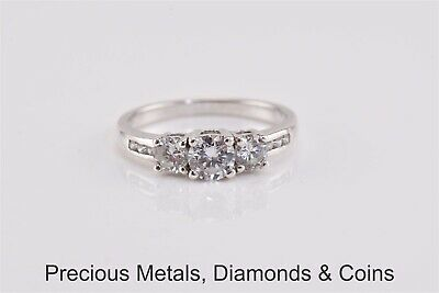 Sterling Silver Past Present Future Cubic Zirconia Accented Band Ring 925 Sz: 7