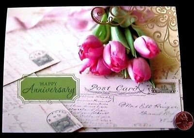 Pink Tulips Flowers Post Cards Elegant GOLD SHINE - Happy Anniversary Card - NEW