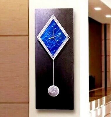 Statements2000 Metal Wall Clock Pendulum Art Modern Black Blue Decor Jon Allen
