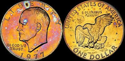 1977-S Eisenhower $1 Dollar Proof Beautiful Coin Color Toned In High Grade
