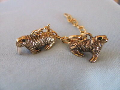 JOAN RIVERS NOAH'S ARK SET 2 WALRUS CHARMS w SPRING RINGS & EXTENDER CHAINS