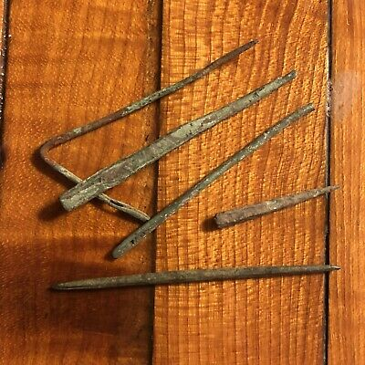 5 Authentic Ancient Norse Viking Needles Pins Brass Artifact European Rare
