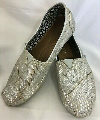 523df38a7a2 Toms Classic Silver Sequins Glitter Flats Loafers Slip Ons US Women s 8