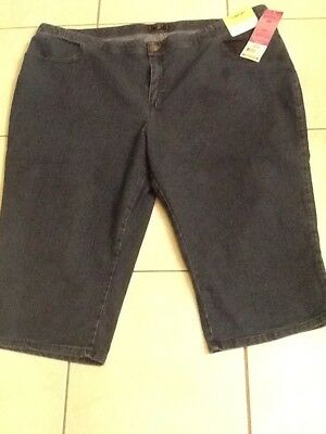 59c99853 Lee Riders Denim Jean Capris Mid Shade Comfort Waist Women Plus Sz 26W NWT