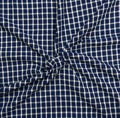 Navy & White Checker 100% Cotton Yarn-Dyed Seersucker Fabric Sold by the Yard