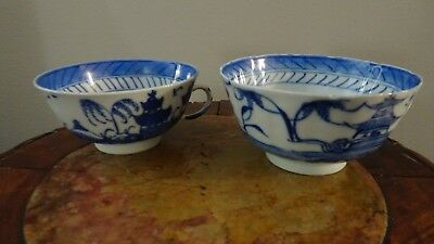 Lot of   2 Antique Tea Cups w/ Handles Chinese Asian Glazed Blue White Porcelain