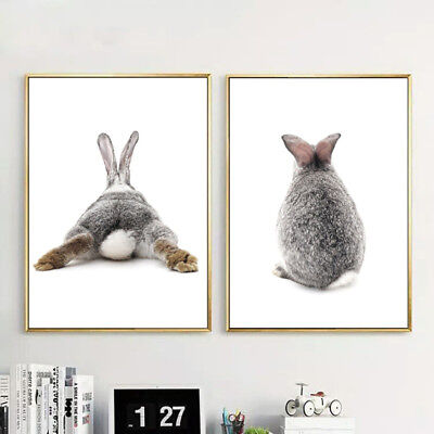 HK- Nordic Gray Rabbit Wall Painting Picture Poster Art Home Decor Unframed Fash