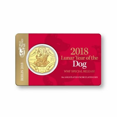 Australia 2018 50c Year of the Dog World Money Fair Gold Plated UNC Coin
