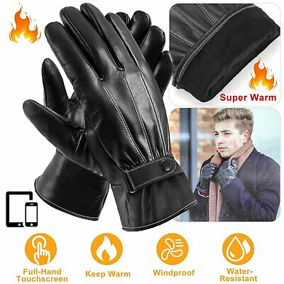 Mens Womens Leather Gloves Motorcycle Driving Sports Warm Touch Screen Winter US