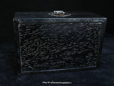 20CM Collect Chinese old Ebony wood Handmade Dragon box wooden Sculpture QFHK