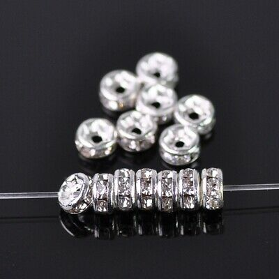 50pcs 4mm Rondelle Silver Crystal Glass Rhinestone Loose Spacer Bead DIY Jewelry