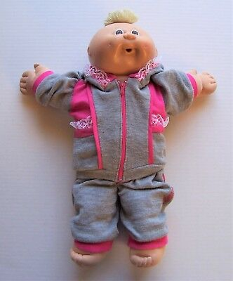 Vintage Cabbage Patch Kids Doll 1985 Open Mouth Brown Eyes Dimples Sweat Suit
