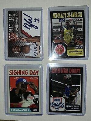 4 Different ZION WILLIAMSON 2018 McDonalds Iconic Ink ACEO