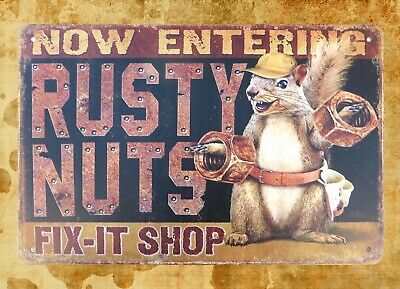 Rusty Nuts Fix-it Shop rustic man cave tin sign poster metal wall art