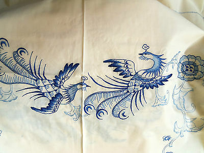 "Embroidered Tablecloth Napkins BEIGE/BLUE Quetzal Birds & Flowers 54"" x 72"" NEW!"