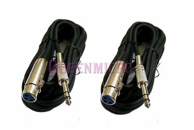 """2 x 25FT XLR 3Pin Female to 1/4"""" Stereo TRS Mic Microphone Cord Cable 25' Foot"""