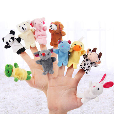 HK- 10Pcs/Pack Baby Kids Finger Animal Educational Story Toys Puppets Cloth Plus