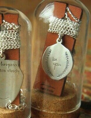 Victorian Trading Co Hand-Engraved Pendant Necklace Be you in Glass Bell Jar NIB