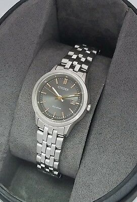 Citizen Eco Drive ladies Watch EW2400-58H New W Box Grey Dial Stainless Steel