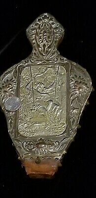Antique Front Plate Fireplace Bellow Embossed Hammered Copper Silver Sweethearts