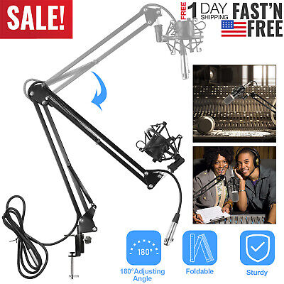 Microphone Suspension Boom Scissor Arm Stand w/ Shock Mount for Studio Broadcast