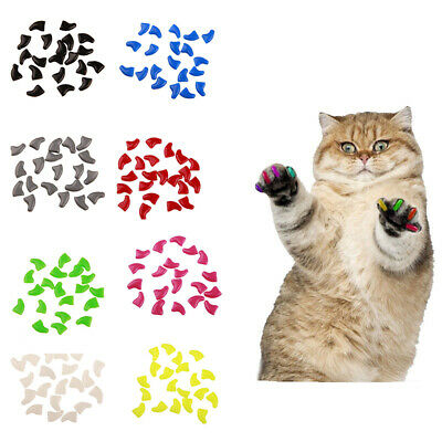 HK- 20x Soft Plastic Colorful Cat Nail Caps Paw Claw Protector Cover with Glue M