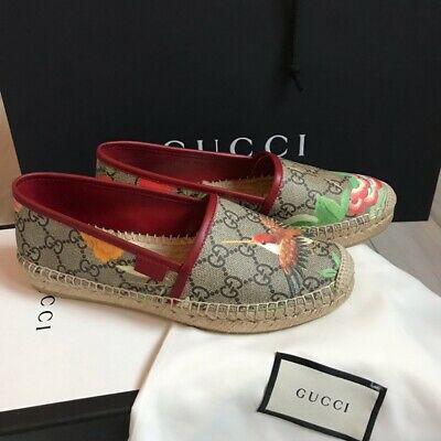 08ca06f4a Gucci Authentic Pilar Tian Blooms Print Gg Canvas Leather Espadrilles Size  5.5