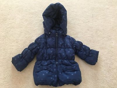 Infant girls size 4-6 months H&M Navy Blue Polka Dot dressy winter coat bows