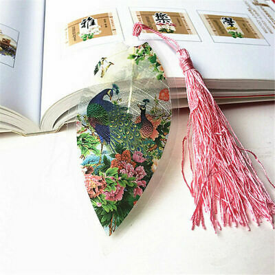 Chinese Panda Peacock Leaf Shape With Tassel Bookmark Reading Ornament Gift