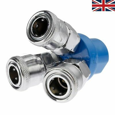 """Brand New 3 Way Y Pass Air Hose Pipe Quick Connect Coupler Female Thread 1/4"""" UK"""