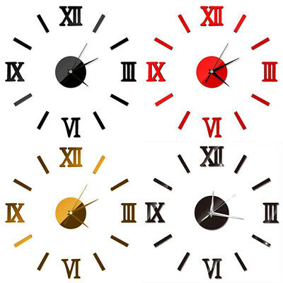 DIY Wall Clock Watch Home Modern Decoration 3D Crystal Mirror Art Sticker Decals