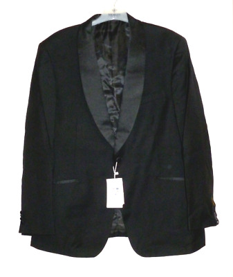 Alexander Dobell 1 Button Luxury Black Tuxedo Jacket Pure Wool 48R SALEx UU 10