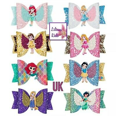 """Princess Character Hair Bows - 20 Designs - 3.5"""" Glitter/Angel Wing With Clip"""