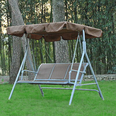 Outsunny Garden 3 Seater Metal Swing Chair Hammock Canopy Oustdoor Swinging Seat