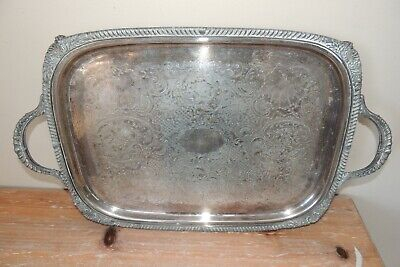 "L@@K! VINTAGE F.B. Rogers #6377 Silverplate ENGRAVED HEAVY Waiter Tray 21"" x 13"""