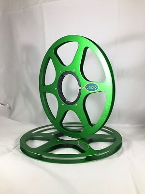 """ONE PAIR   New  10.5"""" Anodized  Aluminum metal Reels  Green"""