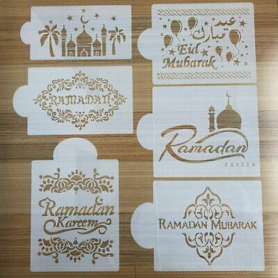 Mosque Eid Mubarak Cake Stencil Kitchen Cookware Mould Templates Tool  Popular