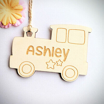 Personalised Wooden Kids Gift Tag - Custom Train Tag