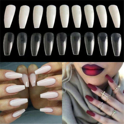 HK- 100Pcs Long Nail Art Tips Coffin Shape Full Cover False Ballerina Nails Heal